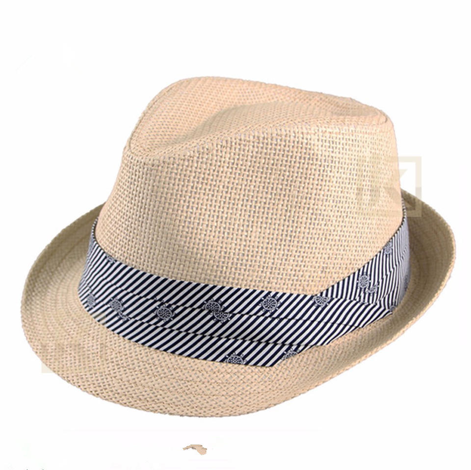 custom new style handmade high quality light color fashion paper straw fedora men hat
