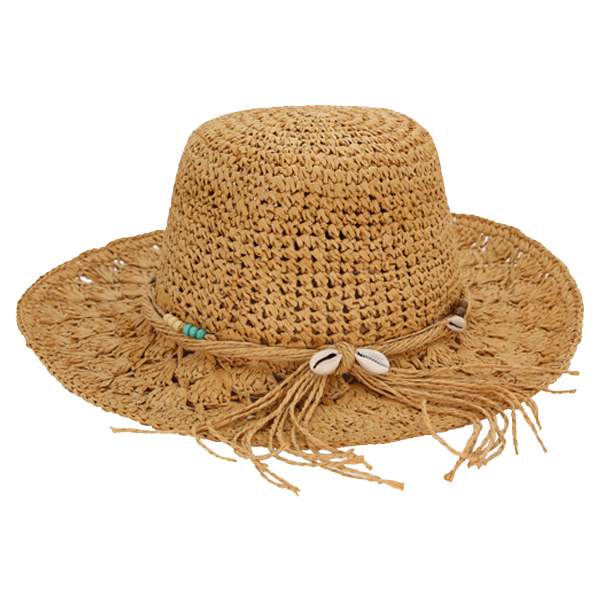 Straw Crocheted Raffia fedora hat