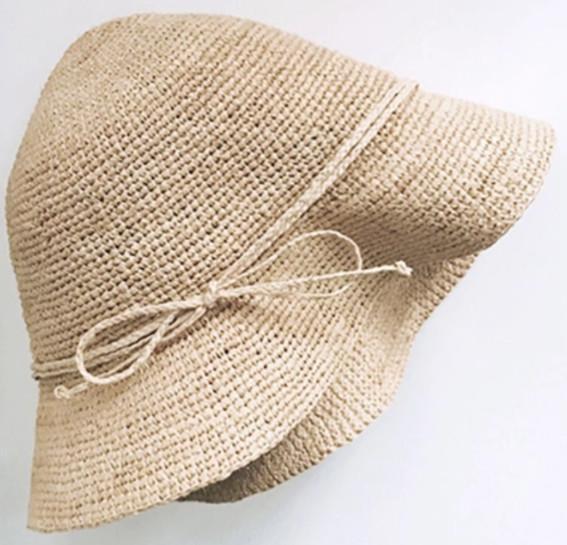raffia straw bucket hat