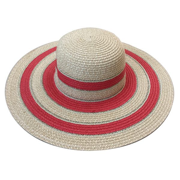 women wide brim floppy stripe straw hat with lurex