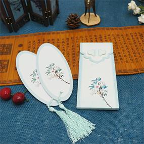 复古中国风异形古风唯美拼接套装小礼品 椭圆形书签带流苏
