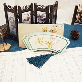 复古中国风异形古风唯美拼接套装小礼品 之旗头形状书签带流苏穗子