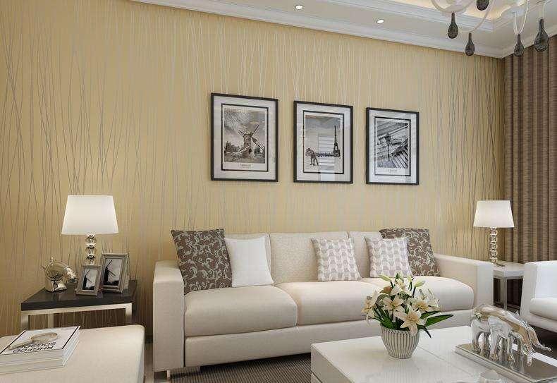 客厅用树纹理墙布实拍