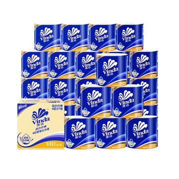 【猫超包邮】维达蓝色经典4层140g*27卷,拍4件,108卷,券后:¥160.6