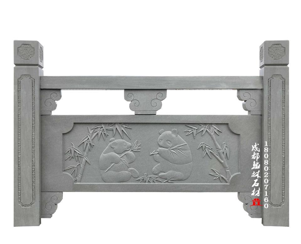 四川河道青石石雕栏杆图片_材质上乘