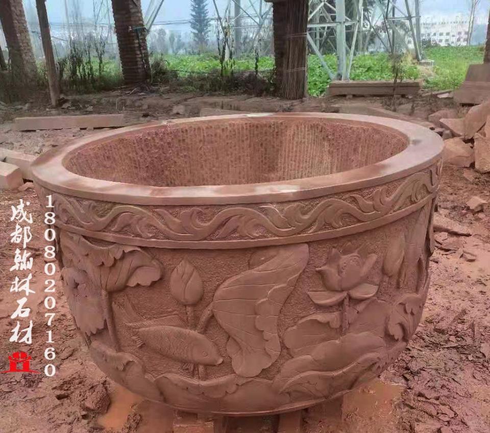 四川材质上乘红砂岩水缸