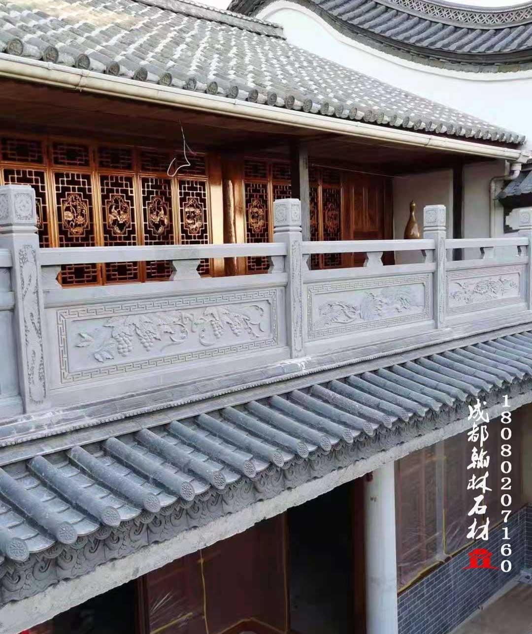 材质上乘四川仿古青石阳台围栏杆