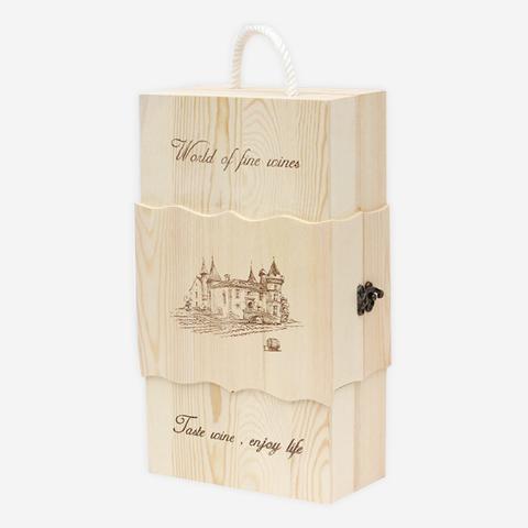 新款原木色双支红酒盒