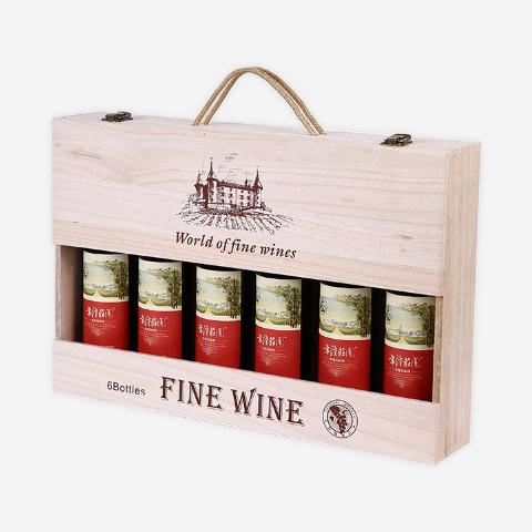 六支桐木创意红酒木盒
