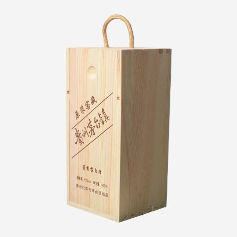 实木单只装白酒包装盒松木