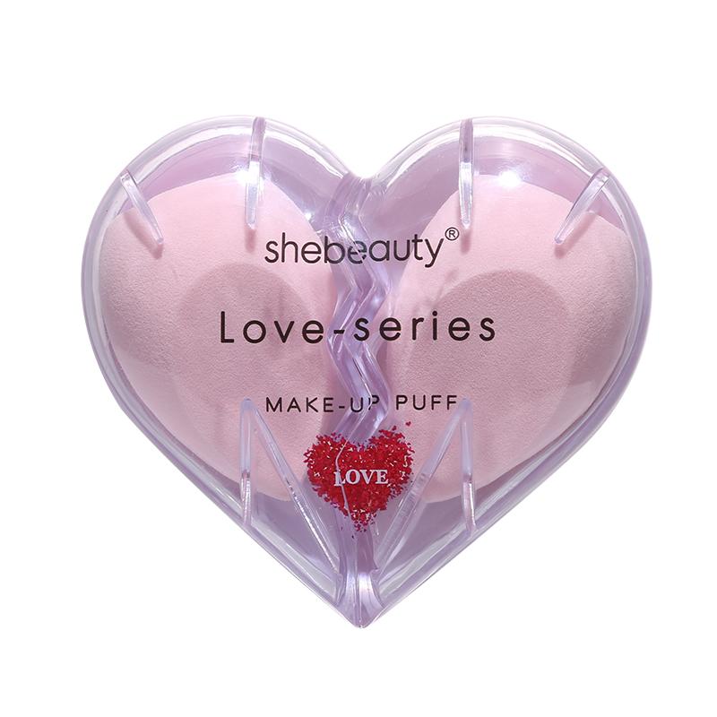 Shebeauty Cosmetics Beauty Sponge Blender with Heart Shape Case- Pink-2 piece
