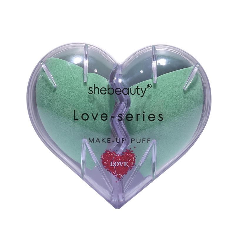 Shebeauty Cosmetics Beauty Sponge Blender with Heart Shape Case- Green-2 piece