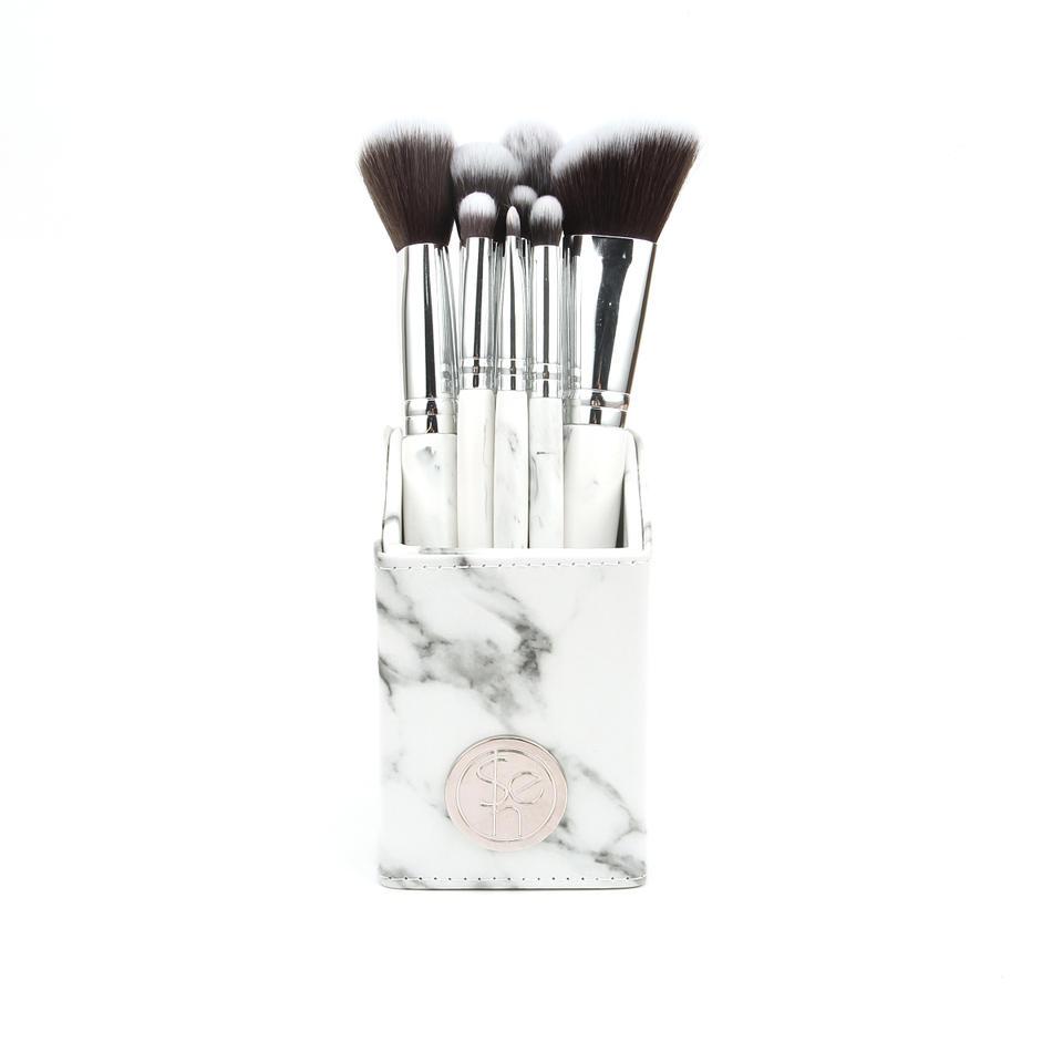 White Marble  9 Piece Brush Set with Angled Brush Holder