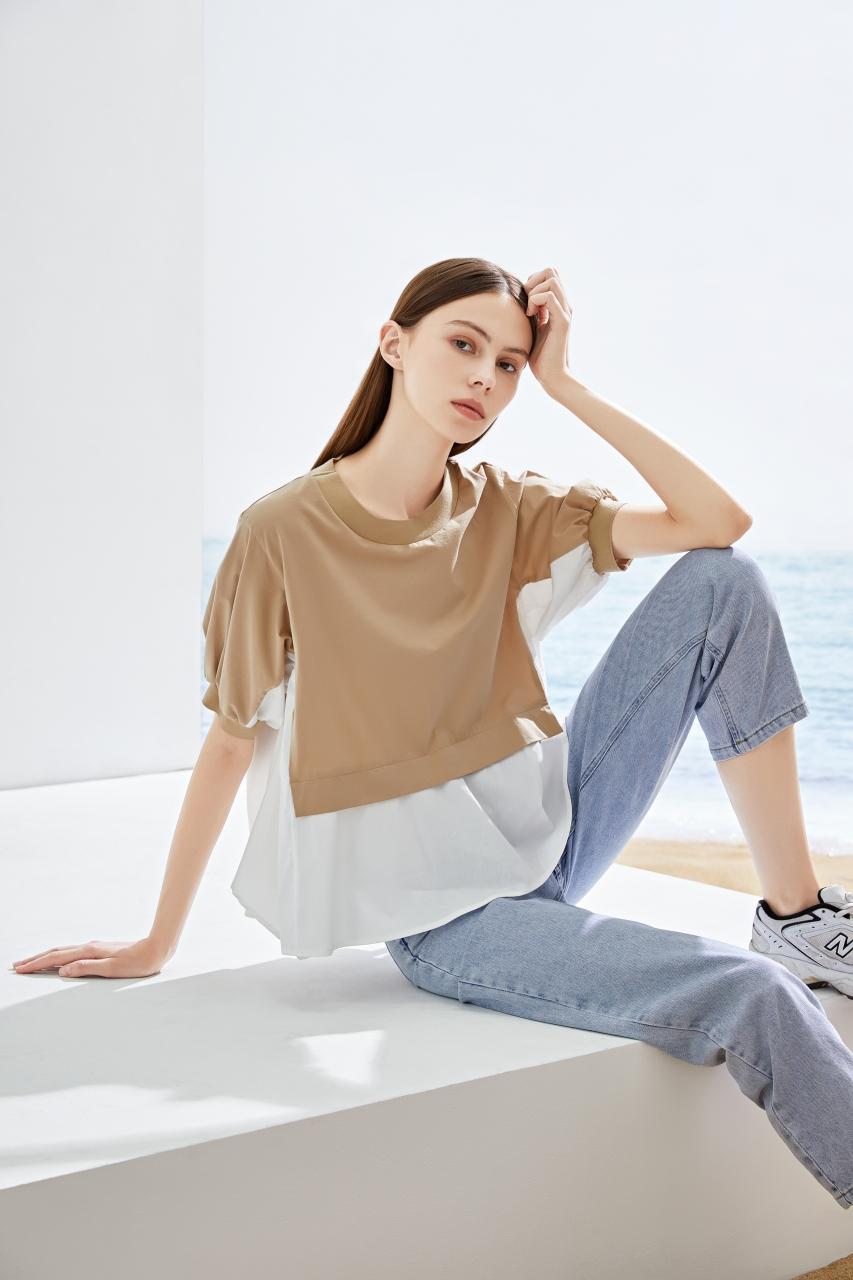2021夏季宽松韩版假两件短袖女T恤