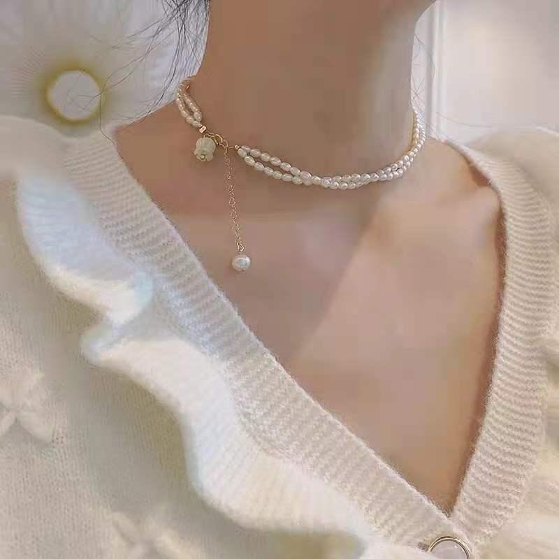 双层小米珠锁骨链