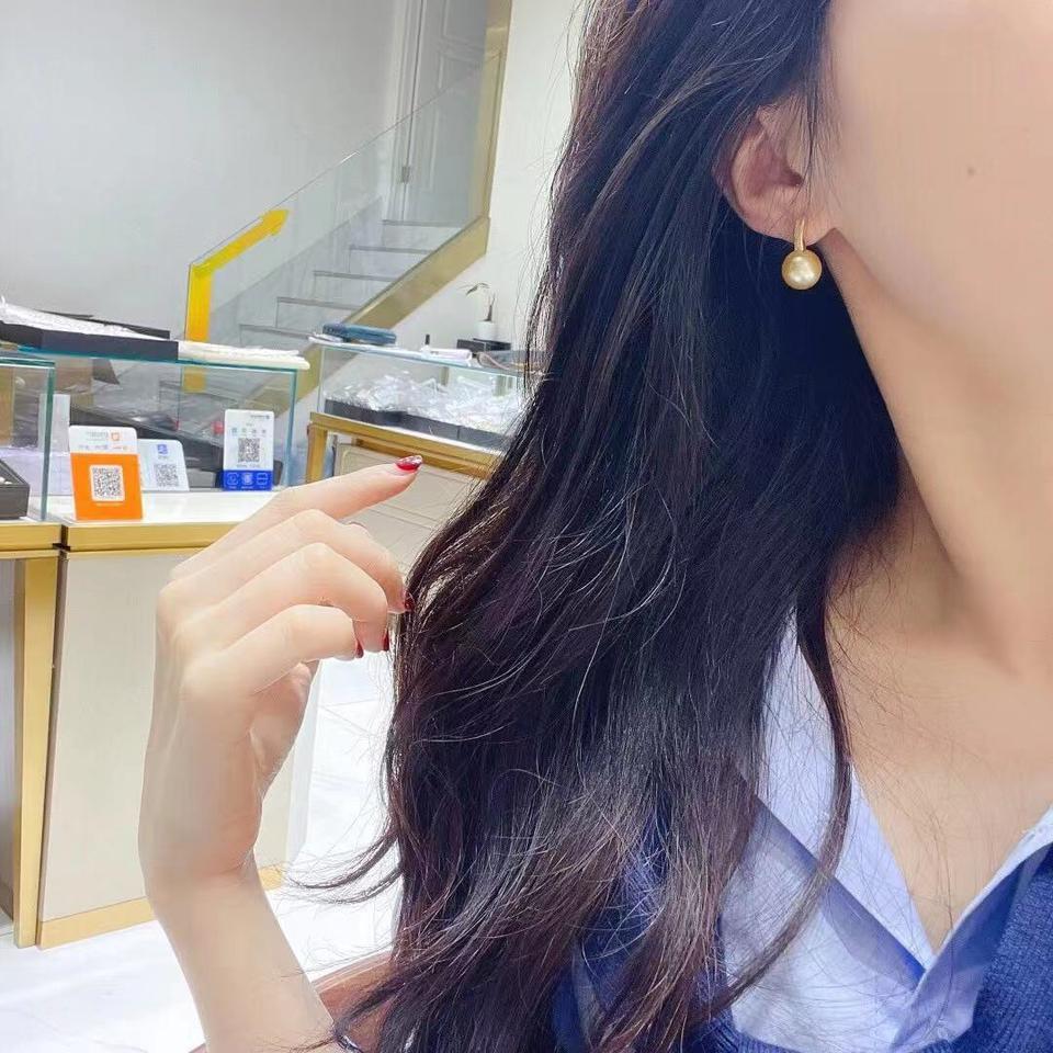 11-12mm浓金南阳金珠耳钉