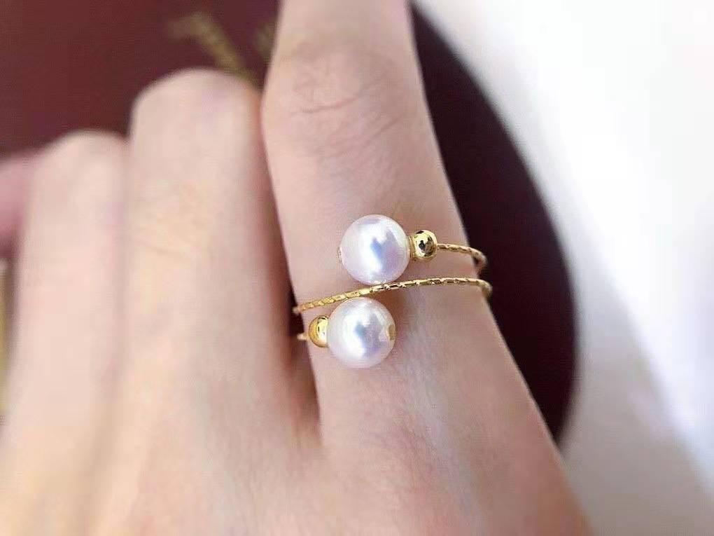 双珠弹力戒指