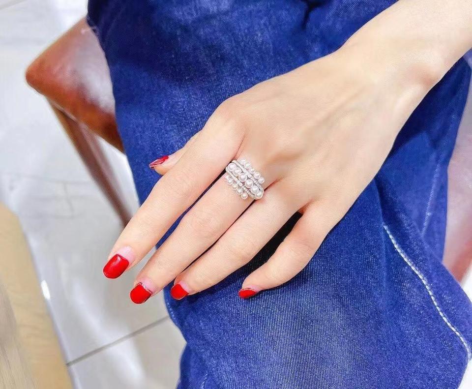 多珠akoya海水珍珠戒指