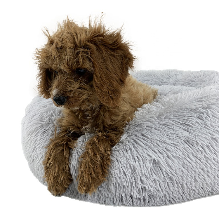 Fluffy Shag Round Faux Fur Pet Bed