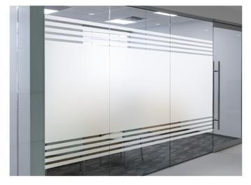 办公室玻璃贴纸免胶条纹磨砂玻璃贴膜防撞透光不透明走廊隔断防窥