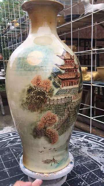 长沙铜官窑陶瓷长沙铜官窑手工手绘釉下彩仿唐古建筑专配花瓶