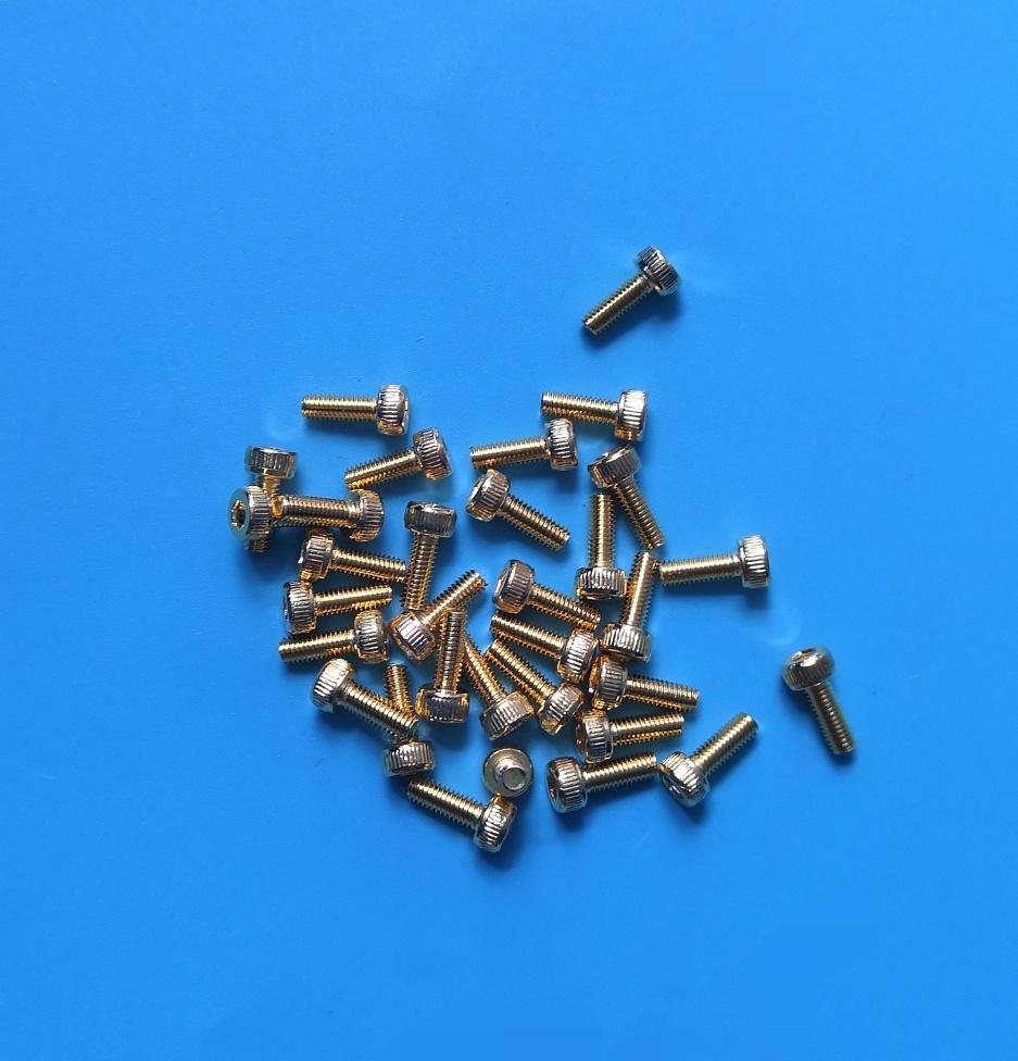 退磁内六角镀金螺丝M3x8