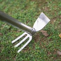 不锈钢两用锄头除草钉耙农具花锄农用园艺工具 不锈钢两用钉钯锄